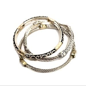 NORDSTROM Two-tone silver classic bangle trio NWOT